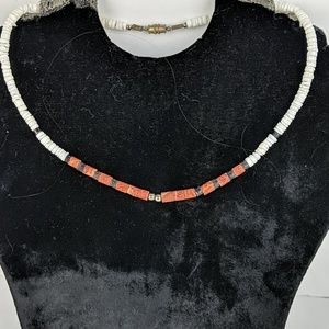 Vintage Surfer Style Pook Shell & Coral Necklace